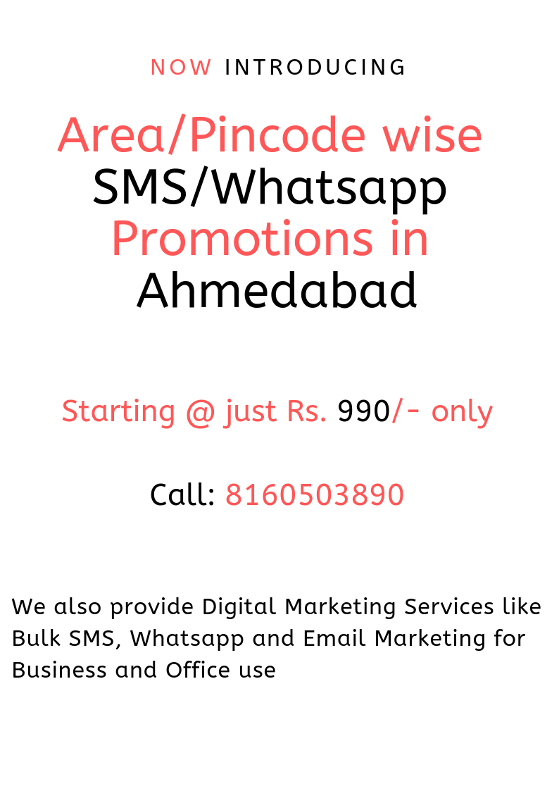 Area/Pincode wise SMS/Whatsapp promotions in Ahmedabad